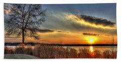 Sunset Sawgrass On Lake Oconee Beach Towel by Reid Callaway