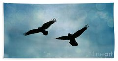 Surreal Ravens Crows Flying Blue Sky Stars Beach Sheet by Kathy Fornal