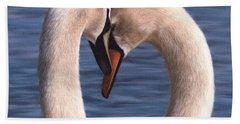 Swans Painting Beach Towel by Rachel Stribbling