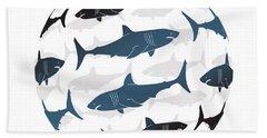 Swimming Blue Sharks Around The Globe Beach Towel by Amy Kirkpatrick