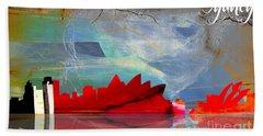 Sydney Australia Skyline Watercolor Beach Sheet by Marvin Blaine