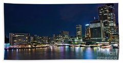 Sydney Cityscape By Night Beach Towel by Kaye Menner