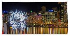 Sydney Skyline From Cockle Bay Beach Sheet by Nicholas Blackwell