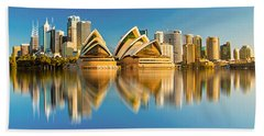 Sydney Skyline With Reflection Beach Sheet by Algirdas Lukas