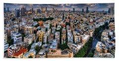 Tel Aviv Lookout Beach Towel by Ron Shoshani