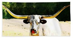 Texas Longhorn - Bull Cow Beach Towel by Sharon Cummings