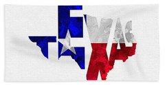 Texas Typographic Map Flag Beach Towel by Ayse Deniz