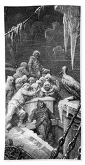 The Albatross Being Fed By The Sailors On The The Ship Marooned In The Frozen Seas Of Antartica Beach Sheet by Gustave Dore
