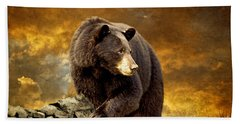 The Bear Went Over The Mountain Beach Towel by Lois Bryan