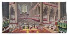 The Coronation Of King William Iv And Queen Adelaide, 1831 Colour Litho Beach Towel by English School