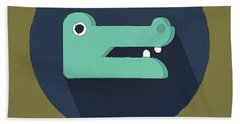 The Crocodile Cute Portrait Beach Towel by Florian Rodarte
