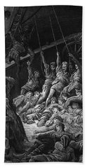 The Dead Sailors Rise Up And Start To Work The Ropes Of The Ship So That It Begins To Move Beach Towel by Gustave Dore