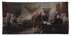 The Declaration Of Independence, July 4, 1776 Beach Sheet by John Trumbull