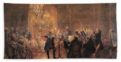 The Flute Concert Beach Towel by Adolph Friedrich Erdmann von Menzel