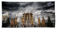 The Friendship Fountain Moscow Beach Towel by Stelios Kleanthous