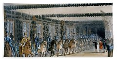The Horse Armour Tower, Print Made Beach Towel by T. & Pugin, A.C. Rowlandson