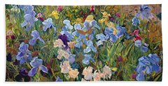 The Iris Bed Beach Sheet by Timothy Easton