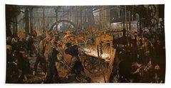 The Iron-rolling Mill Oil On Canvas, 1875 Beach Towel by Adolph Friedrich Erdmann von Menzel