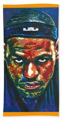 The Lebron Death Stare Beach Towel by Maria Arango