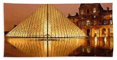 The Louvre By Night Beach Towel by Ayse Deniz