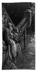 The Mariner Gazes On The Serpents In The Ocean Beach Sheet by Gustave Dore