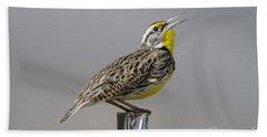 The Meadowlark Sings  Beach Towel by Jeff Swan