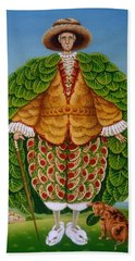 The New Vestments Ivor Cutler As Character In Edward Lear Poem, 1994 Oils And Tempera On Panel Beach Towel by Frances Broomfield