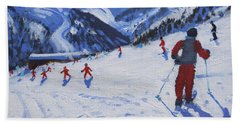 The Ski Instructor Beach Towel by Andrew Macara