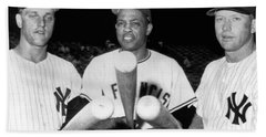 Three Slugging Outfielders Beach Towel by Underwood Archives