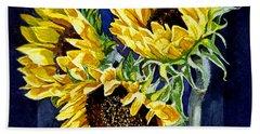 Three Sunny Flowers Beach Towel by Irina Sztukowski