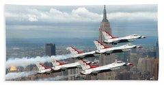 Thunderbirds Over New York City Beach Towel by U S A F