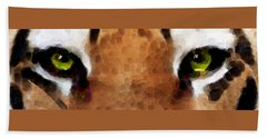 Tiger Art - Hungry Eyes Beach Towel by Sharon Cummings
