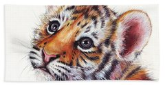 Tiger Cub Watercolor Painting Beach Towel by Olga Shvartsur
