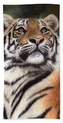 Tiger Painting Beach Towel by Rachel Stribbling