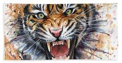 Tiger Watercolor Portrait Beach Towel by Olga Shvartsur