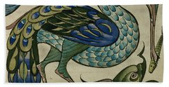 Tile Design Of Heron And Fish Beach Towel by Walter Crane