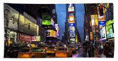 Times Square In The Rain Beach Sheet by Garry Gay