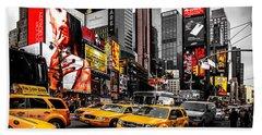Times Square Taxis Beach Sheet by Az Jackson