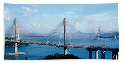 Ting Kaw & Tsing Ma Bridge Hong Kong Beach Towel by Panoramic Images