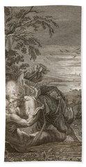 Tithonus, Auroras Husband, Turned Into A Grasshopper Beach Towel by Bernard Picart