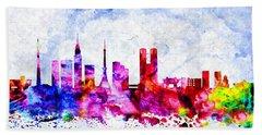 Tokyo Watercolor Beach Towel by Daniel Janda