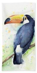 Toucan Watercolor Beach Sheet by Olga Shvartsur