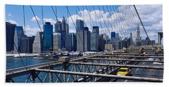 Traffic On A Bridge, Brooklyn Bridge Beach Sheet by Panoramic Images