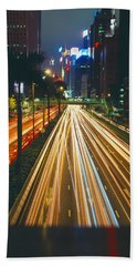 Traffic On The Road, Hong Kong, China Beach Towel by Panoramic Images