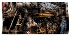 Train - Engine -  Now Boarding Beach Sheet by Mike Savad