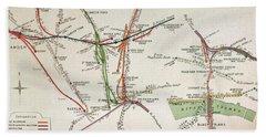 Transport Map Of London Beach Towel by English School