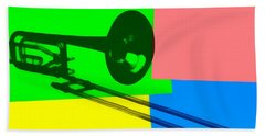 Trombone Pop Art Beach Towel by Dan Sproul