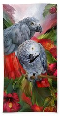 Tropic Spirits - African Greys Beach Sheet by Carol Cavalaris