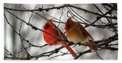 True Love Cardinal Beach Sheet by Peggy  Franz