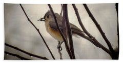 Tufted Titmouse Beach Towel by Karen Wiles